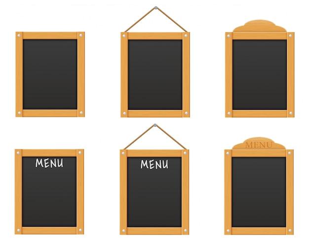 Modelo em branco de madeira preto menu placa