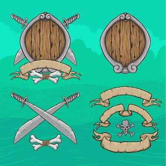 Modelo em branco decorativo pirata escudo e fitas espadas