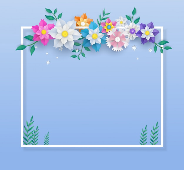 Modelo em design de corte de papel de flor e moldura quadrada.