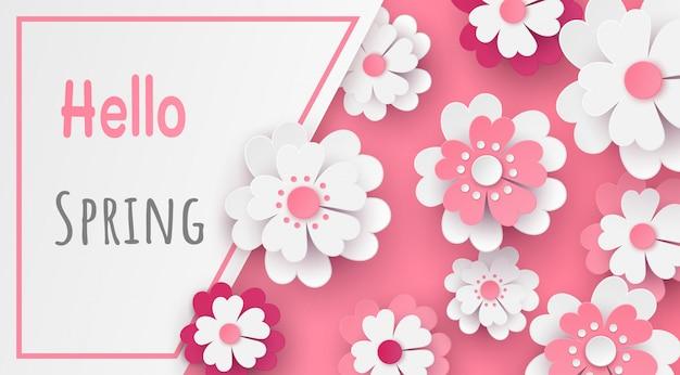 Modelo em design de corte de papel de flor e texto no quadro.