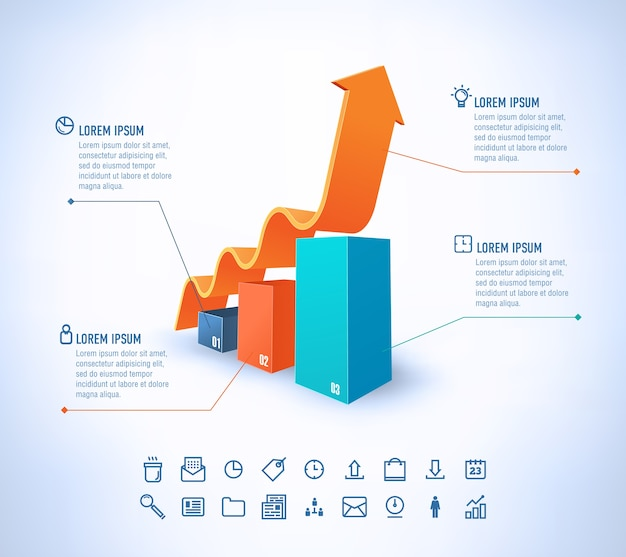 Modelo em estilo moderno para infográfico e apresentação ícones e gráficos de negócios com seta de crescimento