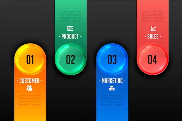Modelo escuro de apresentação de infográfico de quatro etapas