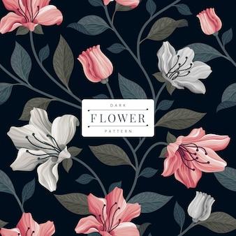 Modelo escuro padrão de flor vintage