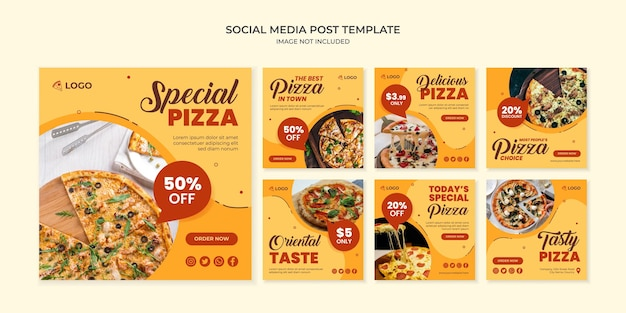 Modelo especial de postagem no instagram de mídia social para pizza