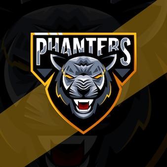 Modelo esport de cabeça mascote pantera negra logotipo
