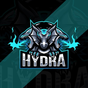 Modelo esport de logotipo de mascote de hidra