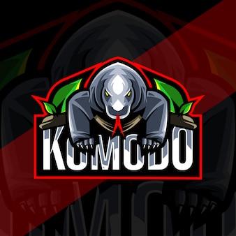 Modelo esport de logotipo de mascote de komodo