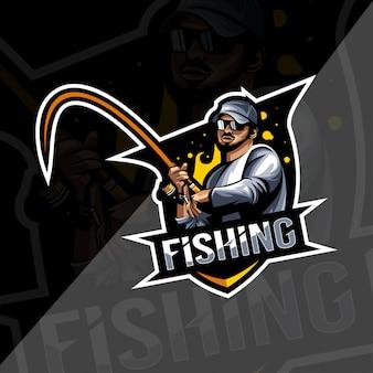 Modelo esport de logotipo de mascote de pesca