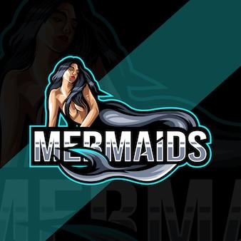 Modelo esport de logotipo de mascote de sereias