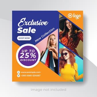 Modelo exclusivo de banner de mídia social para venda de moda