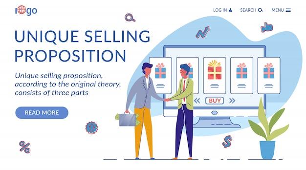 Modelo exclusivo de página de destino da proposição de venda
