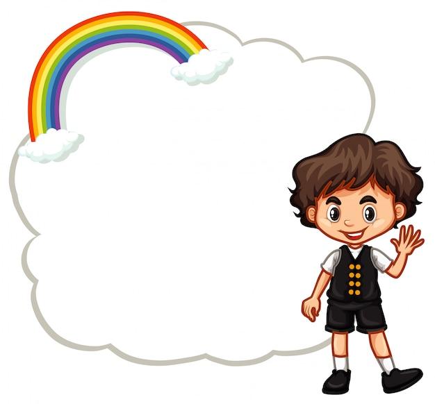 Modelo feliz menino e nuvem
