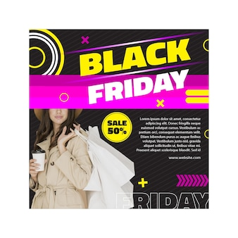 Modelo feminino preto friday square flyer