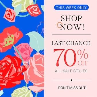 Modelo feminino sale floral com anúncio de mídia social da moda com rosas coloridas