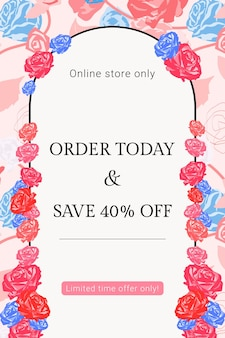 Modelo feminino sale floral com banner de anúncio de moda de rosas coloridas
