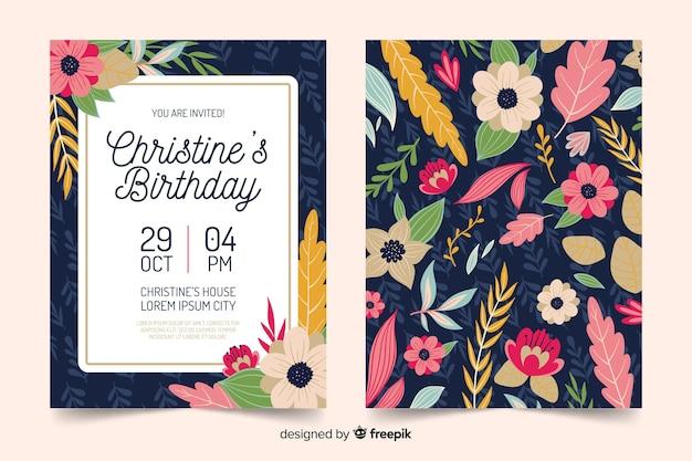 Modelo floral de convite de aniversário