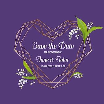 Modelo floral de convite de casamento com elementos geométricos