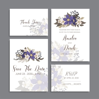 Modelo floral do casamento - cartões florais azuis
