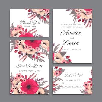Modelo floral do casamento - luz - cartões florais azuis