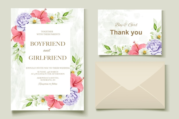 Modelo floral elegante em aquarela de cartão de casamento