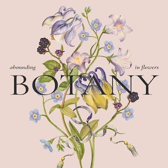 Modelo floral vintage colorido para postagem em mídias sociais, remixado de obras de arte de pierre-joseph redouté