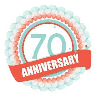 Modelo fofo aniversário de 70 anos com balões e fita vect