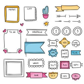 Modelo fofo de diário com marcadores