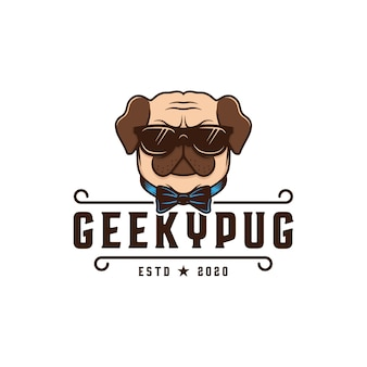 Modelo geeky do logotipo do cão do pug