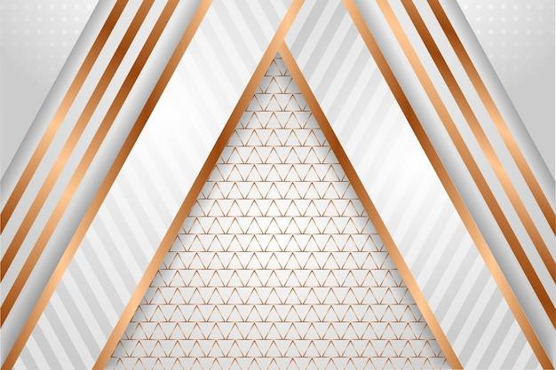 Modelo geométrico abstrato com combinação de gradiente branco cinza e elemento de cor ouro
