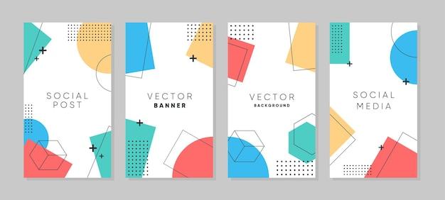 Modelo geométrico abstrato moderno para histórias do instagram e do facebook Vetor Premium