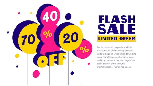 Modelo geométrico com venda de palavra flash e balão de ar isométrico com porcentagem de desconto
