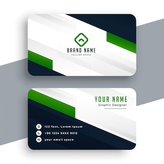 Modelo geométrico de cartão verde profissional