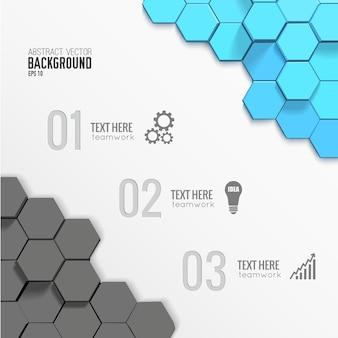 Modelo geométrico de infográfico de negócios com hexágonos cinza e azuis