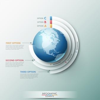 Modelo global de infografia moderna para 3 opções