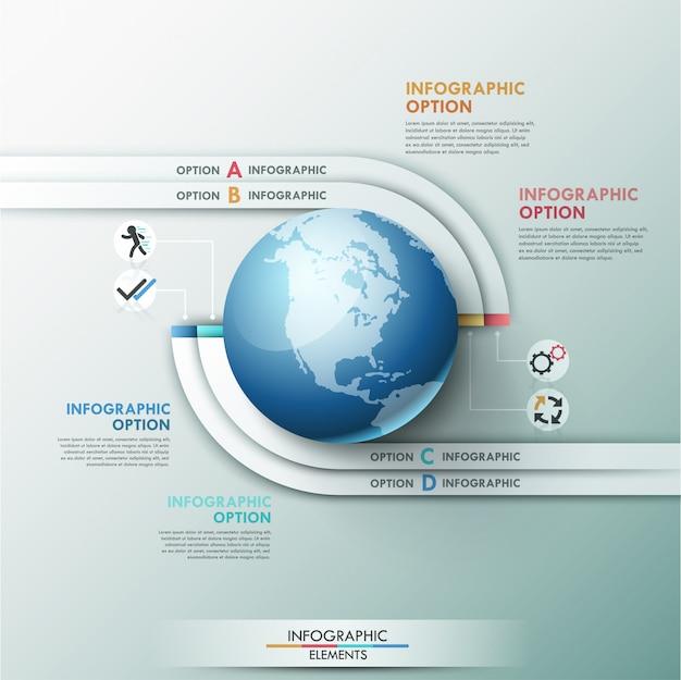 Modelo global de infografia moderna para 4 opções