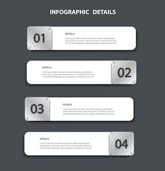 Modelo gráfico da informação da placa de metal com 4 opções