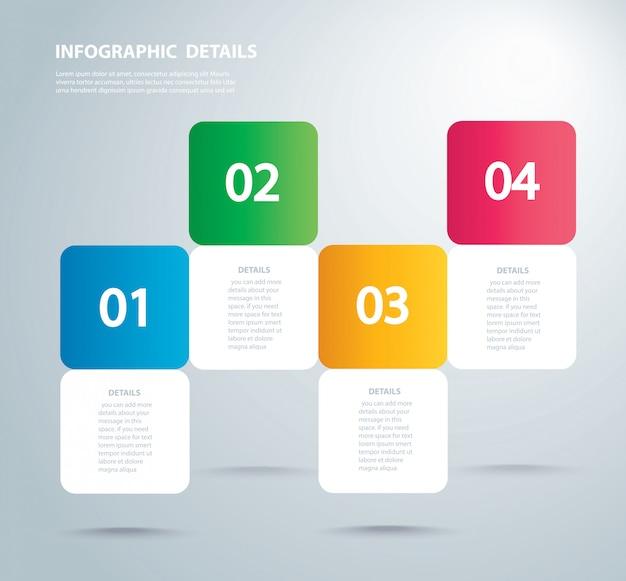 Modelo gráfico de informação quadrada com 4 opções
