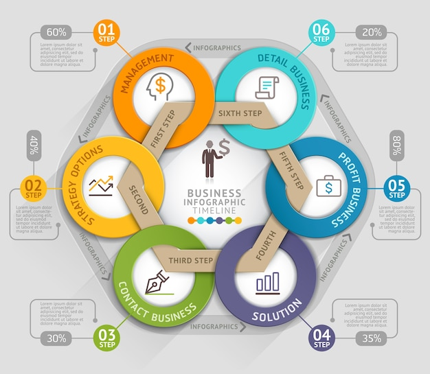 Modelo gráfico de informações de linha do tempo de negócios. Vetor Premium