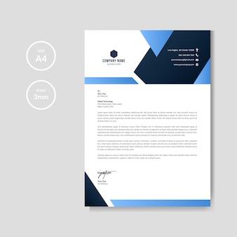 Modelo gráfico profissional de papel timbrado azul