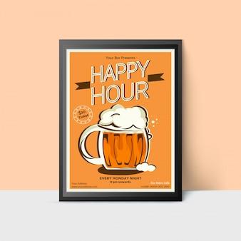 Modelo happy hour com caneca de cerveja para web, cartaz, folheto, convite para festa em cores amarelas. estilo vintage.