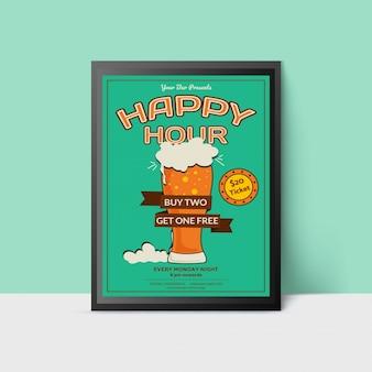 Modelo happy hour com vidro de cerveja para web, cartaz, folheto, convite para festa em cores verdes. estilo vintage.
