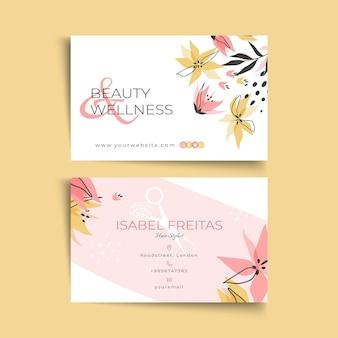 Modelo horizontal de cartão de negócios frente e verso para salão de beleza