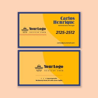 Modelo horizontal de cartão de visita de comida mexicana