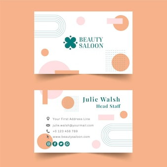 Modelo horizontal de cartão de visita dupla face para salão de beleza