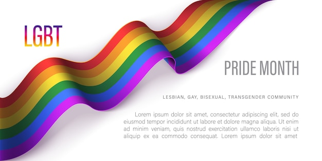 Modelo horizontal do mês de orgulho lgbt. ilustração vetorial