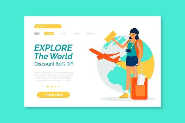 Modelo ilustrado da página inicial de vendas em viagem