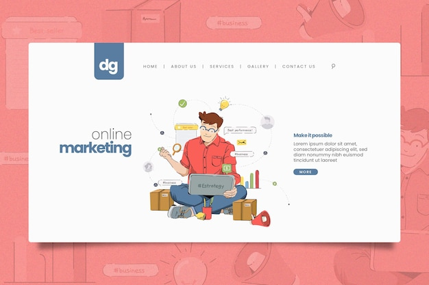 Modelo ilustrado da web de marketing online