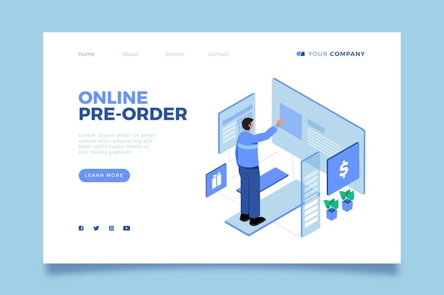 Modelo ilustrado da web do conceito de pré-encomenda
