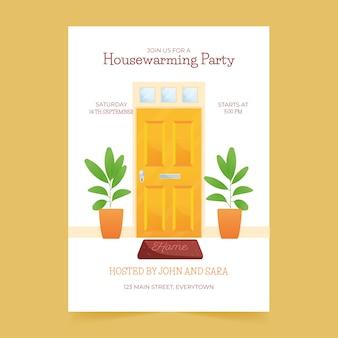 Modelo ilustrado de convite para festa de inauguração
