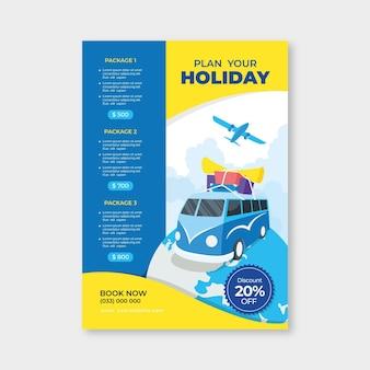 Modelo ilustrado de folheto de vendas em viagem